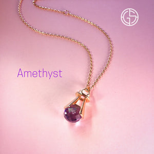 GEMS IN STYLE necklace - Angel Love collection, Amethyst gemstone, 925 Sterling Silver with 14K Rose Gold plating