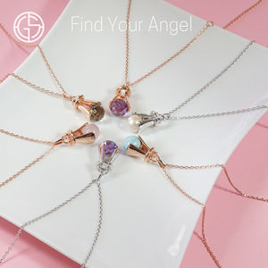 GEMS IN STYLE necklaces - Angel Love collection, natural gemstones, 925 Sterling Silver with Rhodium or 14K Rose Gold plating