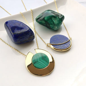 GEMS IN STYLE necklace - MALACHITE and LAPIS LAZULI gemstones, 925 Sterling Silver with 14K Gold plating. Modern Minimalist Gemstone Jewellery.
