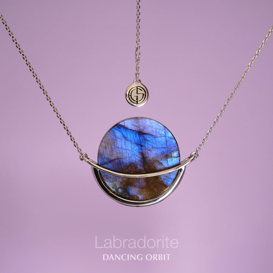 Labradorite gemstone necklace, Dancing Orbit collection by Gems In Style Jewellery