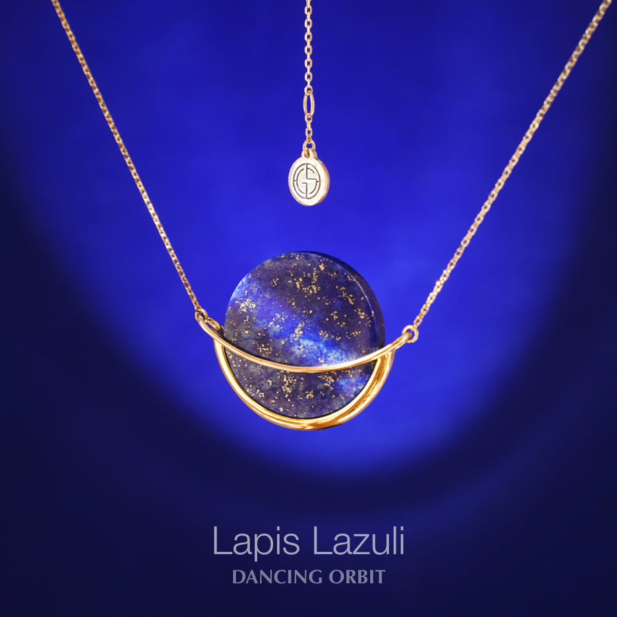 Lapis Lazuli gemstone necklace, Dancing Orbit collection by Gems In Style Jewellery