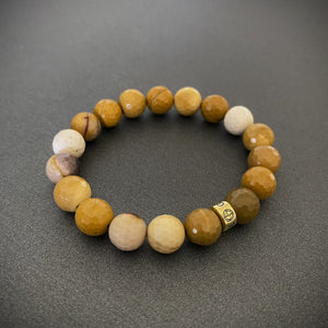 Mookaite natural gemstone bracelet with gold charm by Gems In Style Jewellery