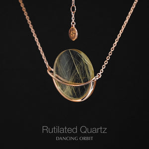 Rutilated Quartz Dancing Orbit necklace. Gems In Style Jewellery