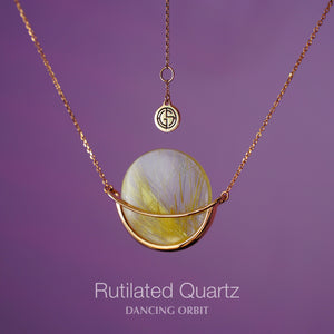 Rutilated Quartz Dancing Orbit necklace by Gems In Style Jewellery