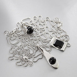 GEMS IN STYLE necklaces - ONYX gemstones, 925 Sterling Silver with Rhodium plating. Modern Minimalist Gemstone Jewellery.