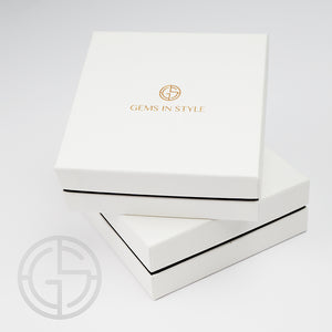 Jewellery packaging by GEMS IN STYLE. Modern Minimalist Gemstone jewellery.