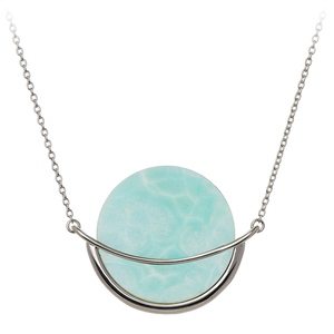 GEMS IN STYLE necklace - Dancing Orbit collection, LARIMAR gemstone, 925 Sterling Silver with Rhodium plating. Modern Minimalist Gemstone Jewellery.