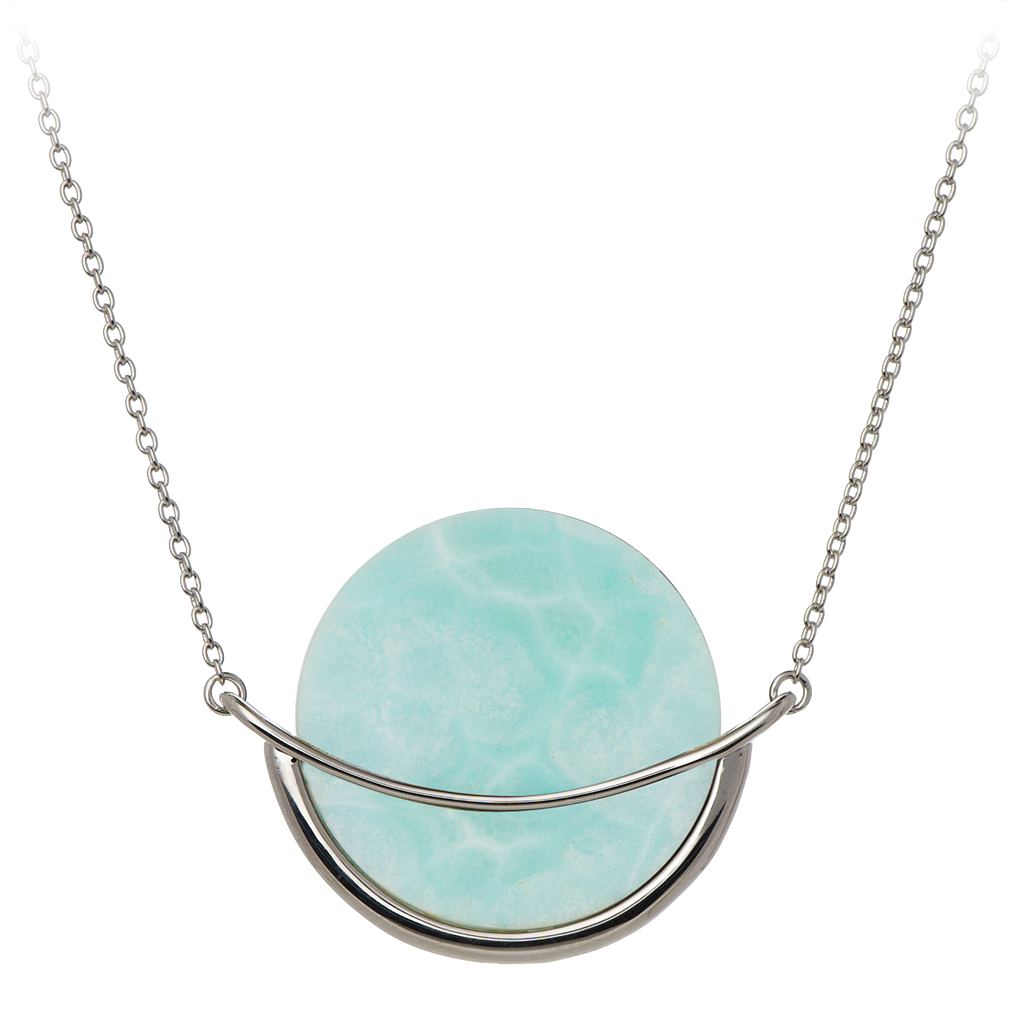 """Dancing Orbit"" necklace by GEMS IN STYLE. Larimar gemstone, 925 Sterling Silver, Rhodium Plating. Modern Minimalist Geometric Gemstone jewellery"