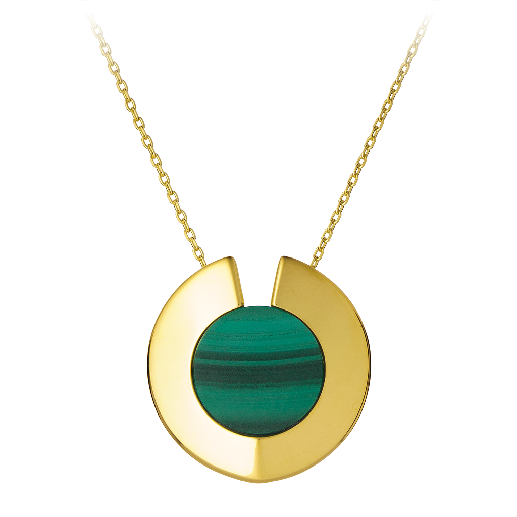 GEMS IN STYLE necklace - Athena Aegis collection, MALACHITE gemstone, 925 Sterling Silver with 14K Gold plating. Modern Minimalist Gemstone Jewellery.