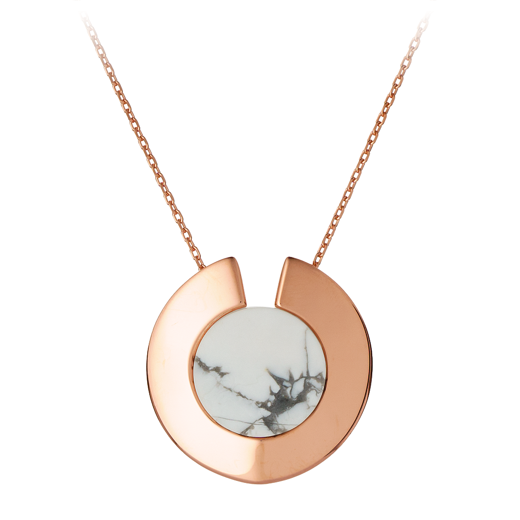 GEMS IN STYLE necklace - Athena Aegis collection, HOWLITE gemstone, 925 Sterling Silver with 14K Rose Gold plating. Modern Minimalist Gemstone Jewellery.