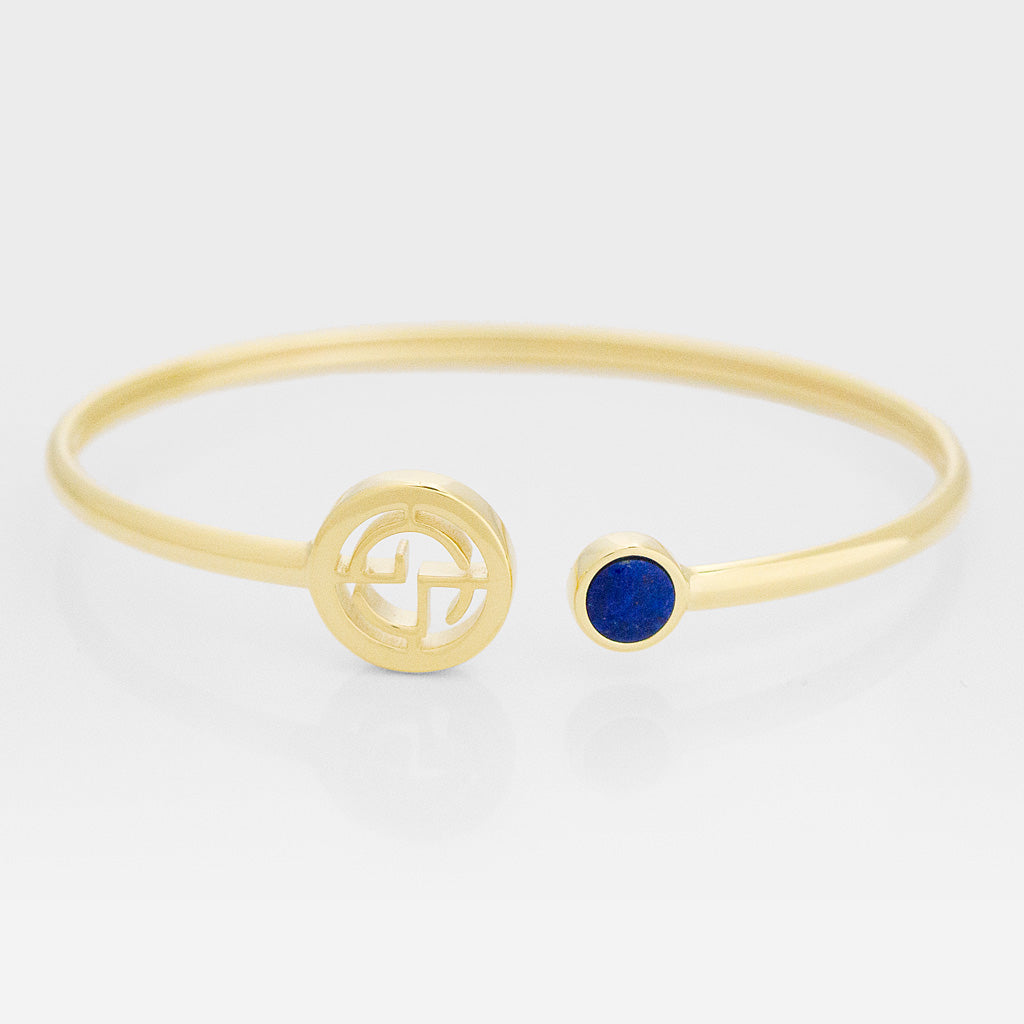 GEMS IN STYLE cuff - Signature collection, LAPIS LAZULI gemstone, 925 Sterling Silver with 14K Gold plating. Modern Minimalist Gemstone Jewellery.