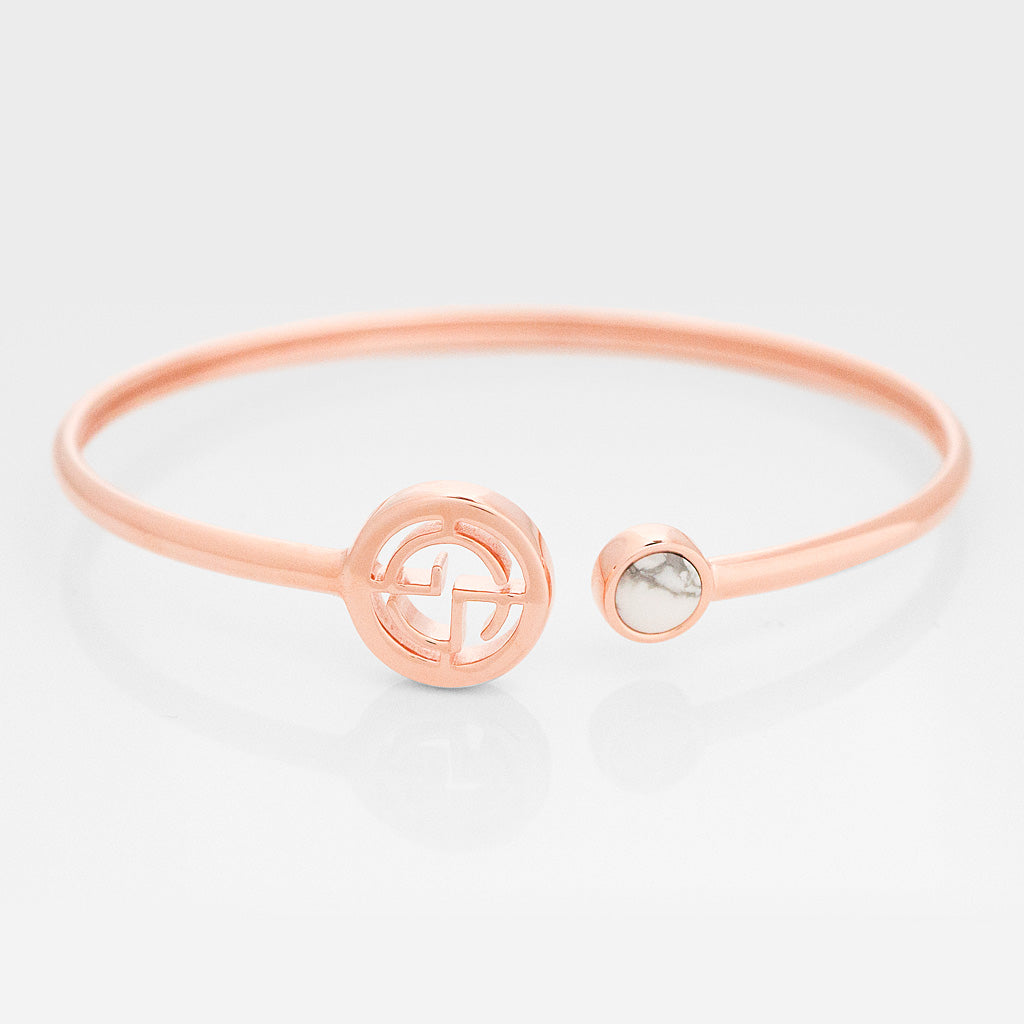 GEMS IN STYLE cuff - Signature collection, HOWLITE gemstone, 925 Sterling Silver with 14K Rose Gold plating. Modern Minimalist Gemstone Jewellery.