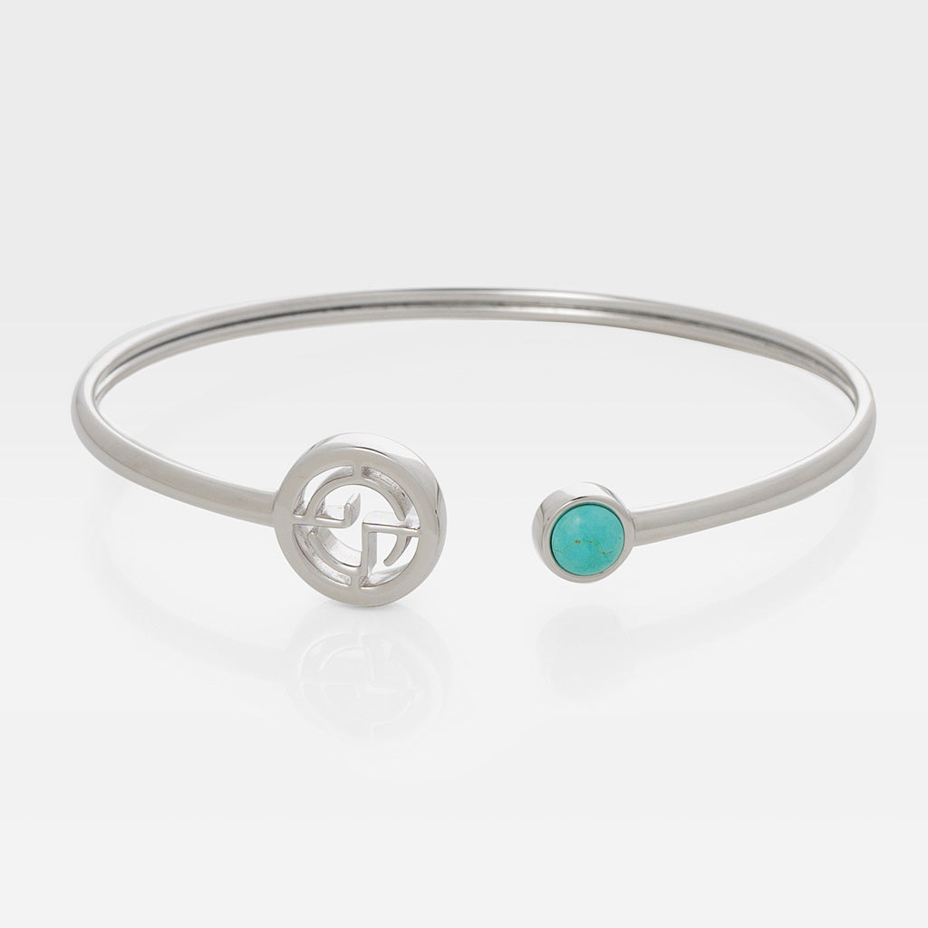 GEMS IN STYLE cuff - Signature collection, TURQUOISE gemstone, 925 Sterling Silver with Rhodium plating. Modern Minimalist Gemstone Jewellery.