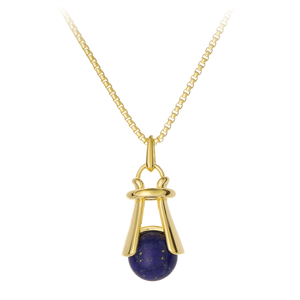 GEMS IN STYLE necklace - Angel Love collection, Lapis Lazuli gemstone, 925 Sterling Silver with 14K Gold plating. Modern Minimalist Gemstone Jewellery.