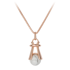GEMS IN STYLE necklace - Angel Love collection, Howlite gemstone, 925 Sterling Silver with 14K Rose Gold plating