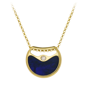 GEMS IN STYLE necklace - Double Agent collection, LAPIS LAZULI and HOWLITE gemstones, 925 Sterling Silver with 14K Gold plating. Modern Minimalist Gemstone Jewellery.