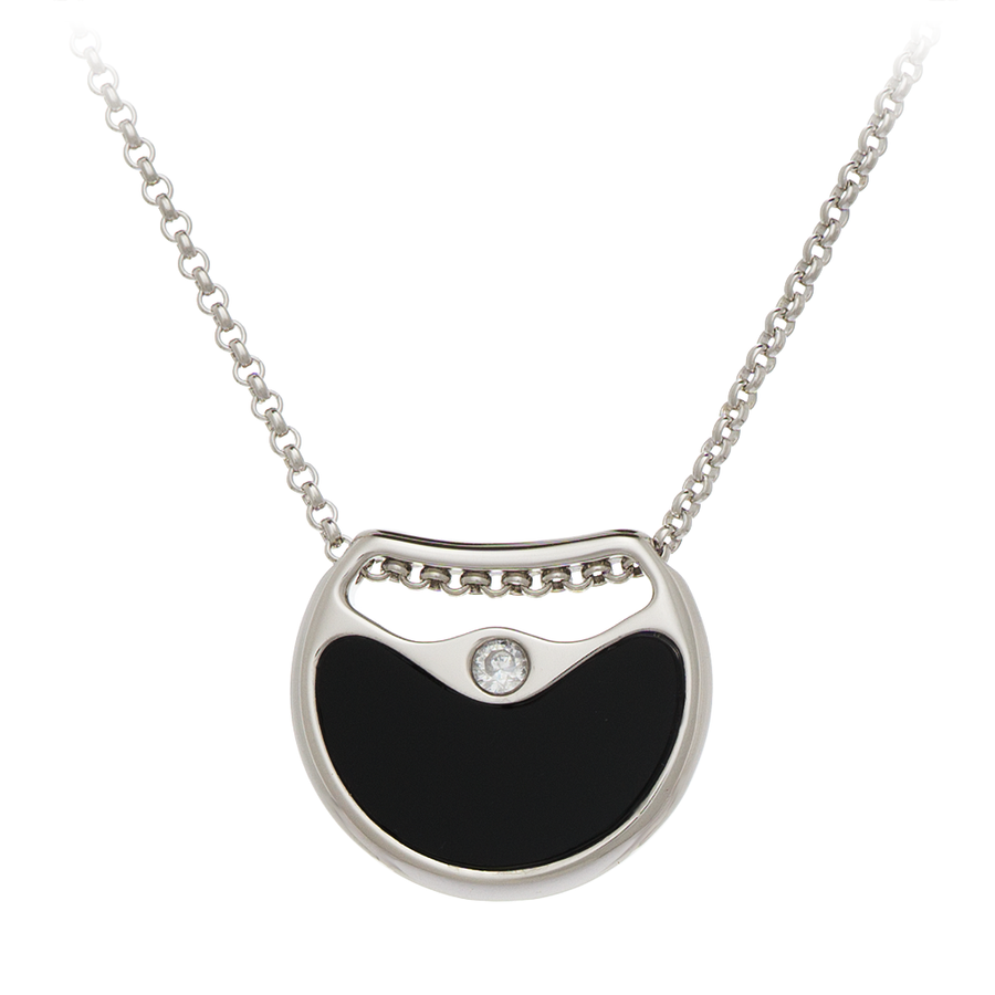 GEMS IN STYLE necklace - Double Agent collection, ONYX and AVENTURINE gemstones, 925 Sterling Silver with Rhodium plating. Modern Minimalist Gemstone Jewellery.