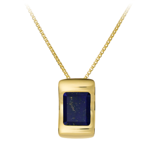 GEMS IN STYLE necklace - Enigma collection, LAPIS LAZULI gemstone, 925 Sterling Silver with 14K Gold plating. Modern Minimalist Gemstone Jewellery.