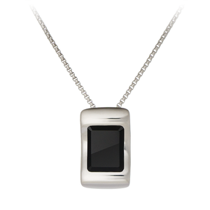 GEMS IN STYLE necklace - Enigma collection, ONYX gemstone, 925 Sterling Silver with Rhodium plating. Modern Minimalist Gemstone Jewellery.