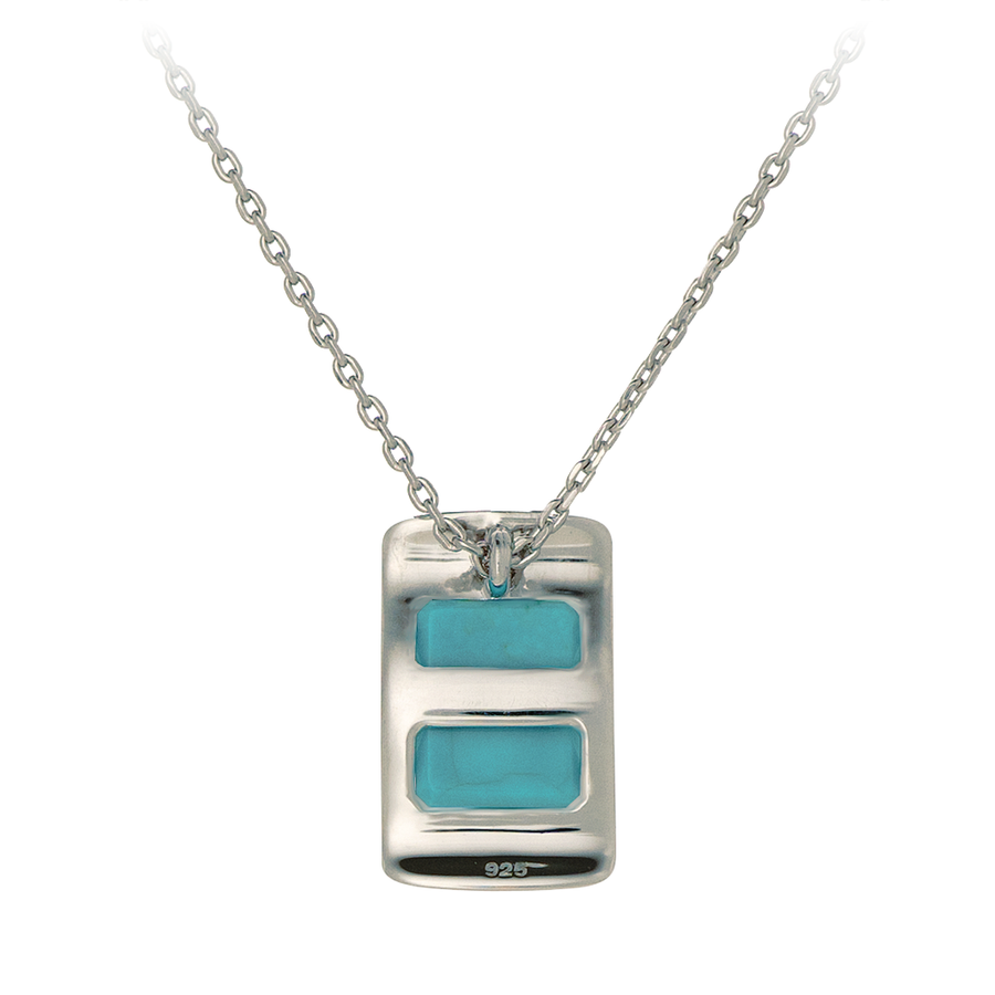 GEMS IN STYLE necklace - Enigma collection, TURQUOISE gemstone, 925 Sterling Silver with Rhodium plating. Modern Minimalist Gemstone Jewellery.