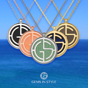 GEMS IN STYLE necklaces - Signature collection, natural gemstone, 925 Sterling Silver with Rhodium or 14K Gold plating. Modern Minimalist Gemstone Jewellery.