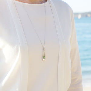 GEMS IN STYLE necklace - Levity collection, Green Amethyst gemstone, 925 Sterling Silver with Rhodium plating. Modern Minimalist Gemstone Jewellery.