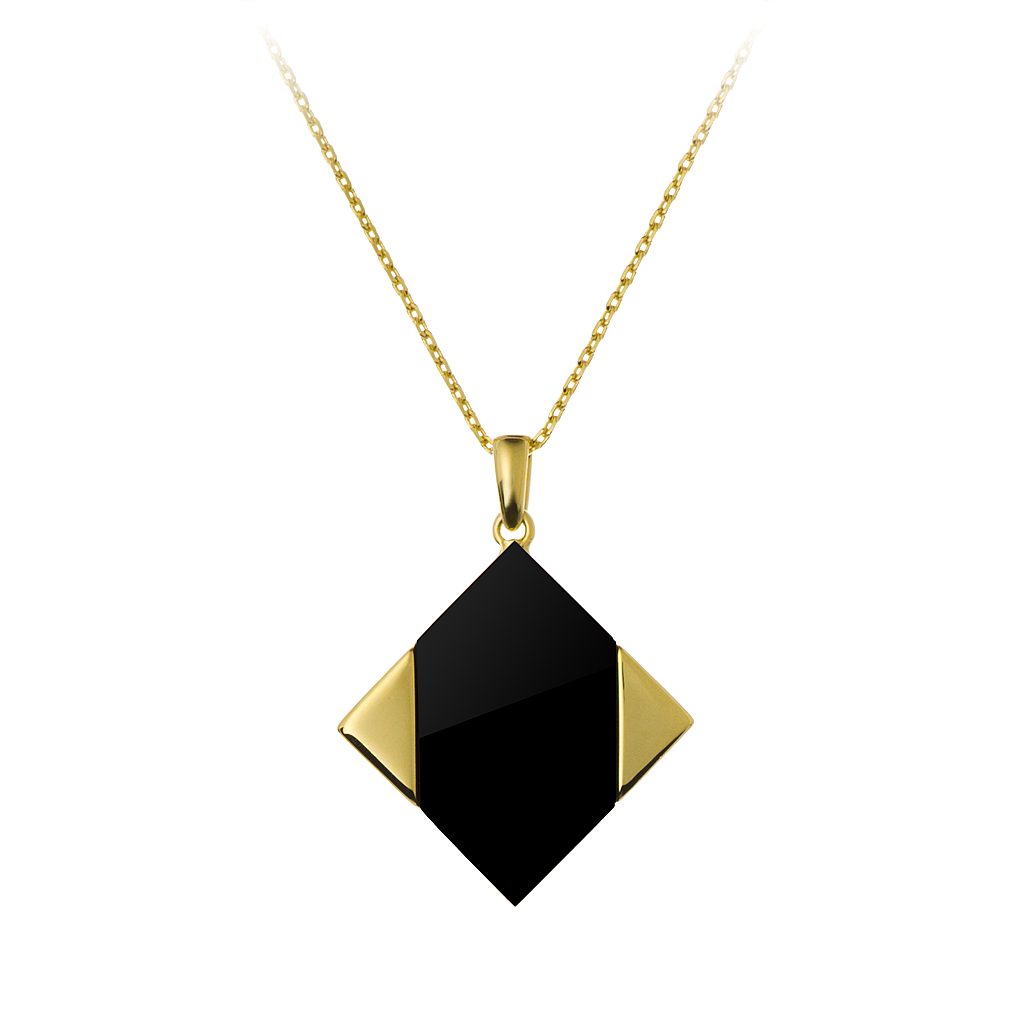 GEMS IN STYLE necklace - Magic Quad collection, ONYX gemstone, 925 Sterling Silver with 14K Gold plating. Modern Minimalist Geometric Gemstone Jewellery.