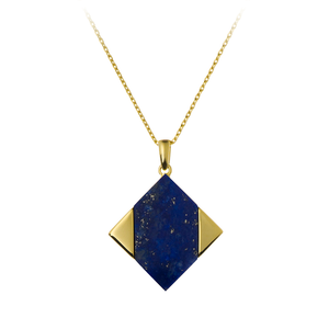 GEMS IN STYLE necklace - Magic Quad collection, LAPIS LAZULI gemstone, 925 Sterling Silver with 14K Gold plating. Modern Minimalist Geometric Gemstone Jewellery.