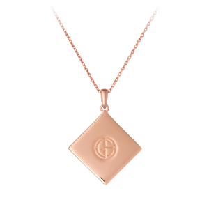 GEMS IN STYLE necklace - Magic Quad collection, HOWLITE gemstone, 925 Sterling Silver with 14K Rose Gold plating. Modern Minimalist Geometric Gemstone Jewellery.