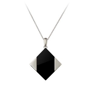 GEMS IN STYLE necklace - Magic Quad collection, ONYX gemstone, 925 Sterling Silver with Rhodium plating. Modern Minimalist Geometric Gemstone Jewellery.