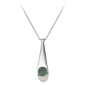 GEMS IN STYLE necklace - Morning Dew collection, AVENTURINE gemstone, 925 Sterling Silver with Rhodium plating. Modern Minimalist Gemstone Jewellery.