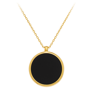 GEMS IN STYLE necklace - Signature collection, ONYX gemstone, 925 Sterling Silver with 14K Gold plating. Modern Minimalist Gemstone Jewellery.