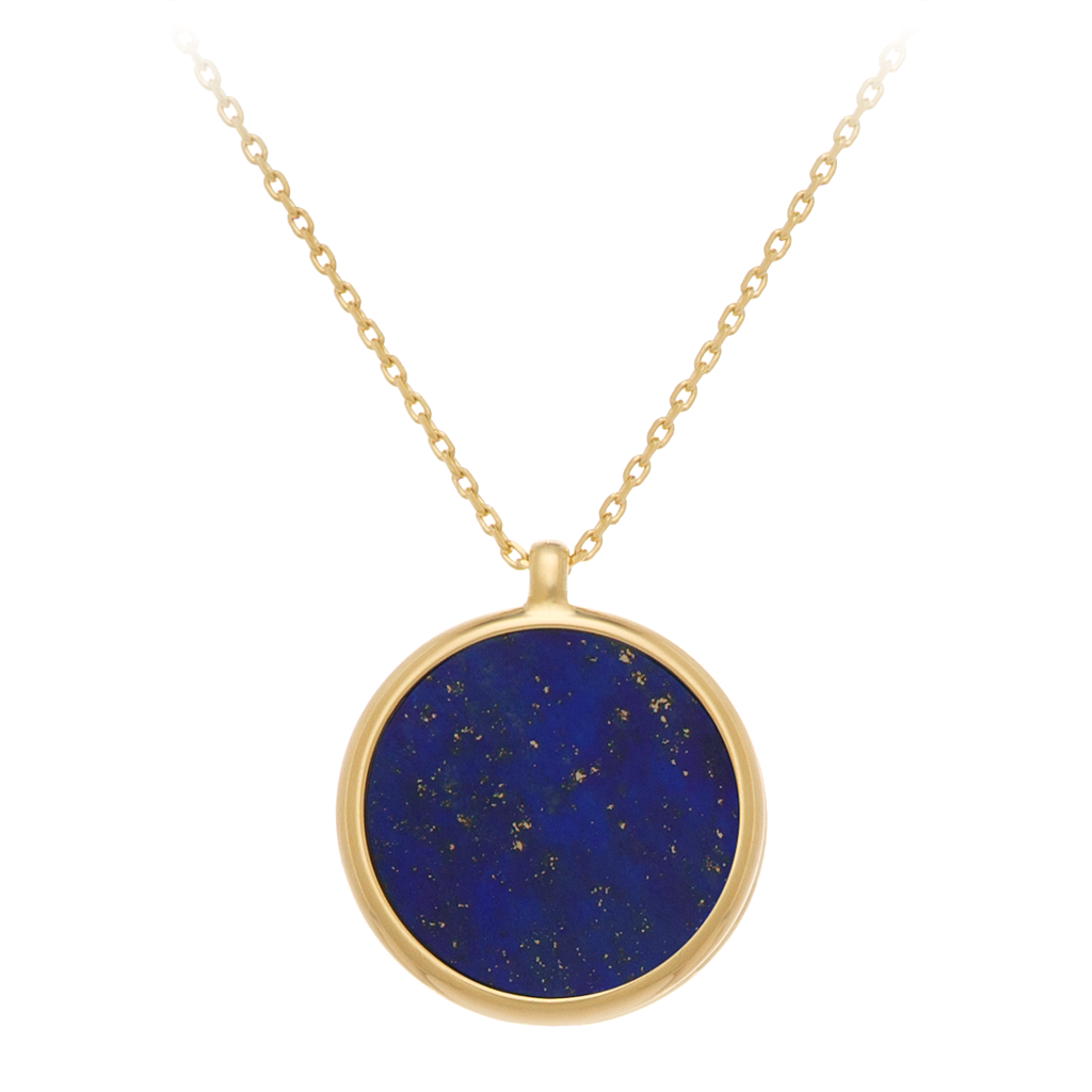 GEMS IN STYLE necklace - Signature collection, LAPIS LAZULI gemstone, 925 Sterling Silver with 14K Gold plating. Modern Minimalist Gemstone Jewellery.