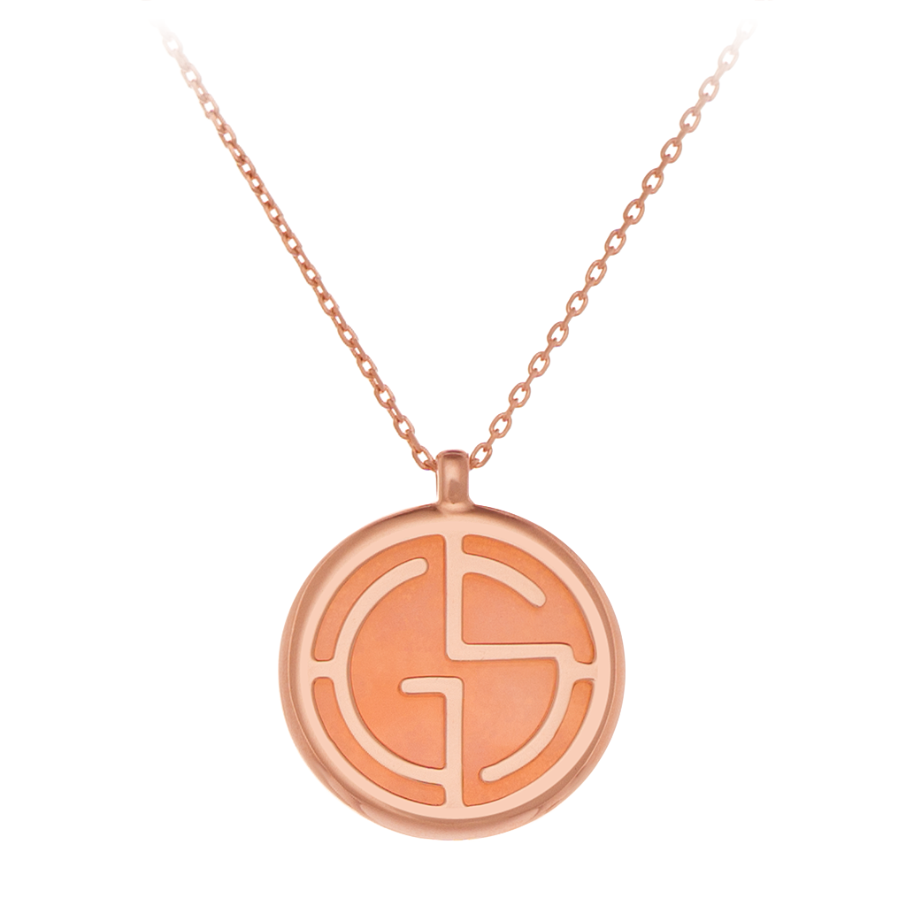 GEMS IN STYLE necklace - Signature collection, PINK OPAL gemstone, 925 Sterling Silver with 14K Rose Gold plating. Modern Minimalist Gemstone Jewellery.