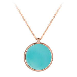 GEMS IN STYLE necklace - Signature collection, TURQUOISE gemstone, 925 Sterling Silver with 14K Rose Gold plating. Modern Minimalist Gemstone Jewellery.