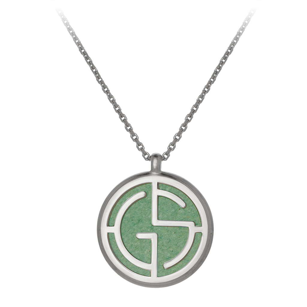 GEMS IN STYLE necklace - Signature collection, AVENTURINE gemstone, 925 Sterling Silver with Rhodium plating. Modern Minimalist Gemstone Jewellery.