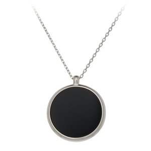 GEMS IN STYLE necklace - Signature collection, ONYX gemstone, 925 Sterling Silver with Rhodium plating. Modern Minimalist Gemstone Jewellery.