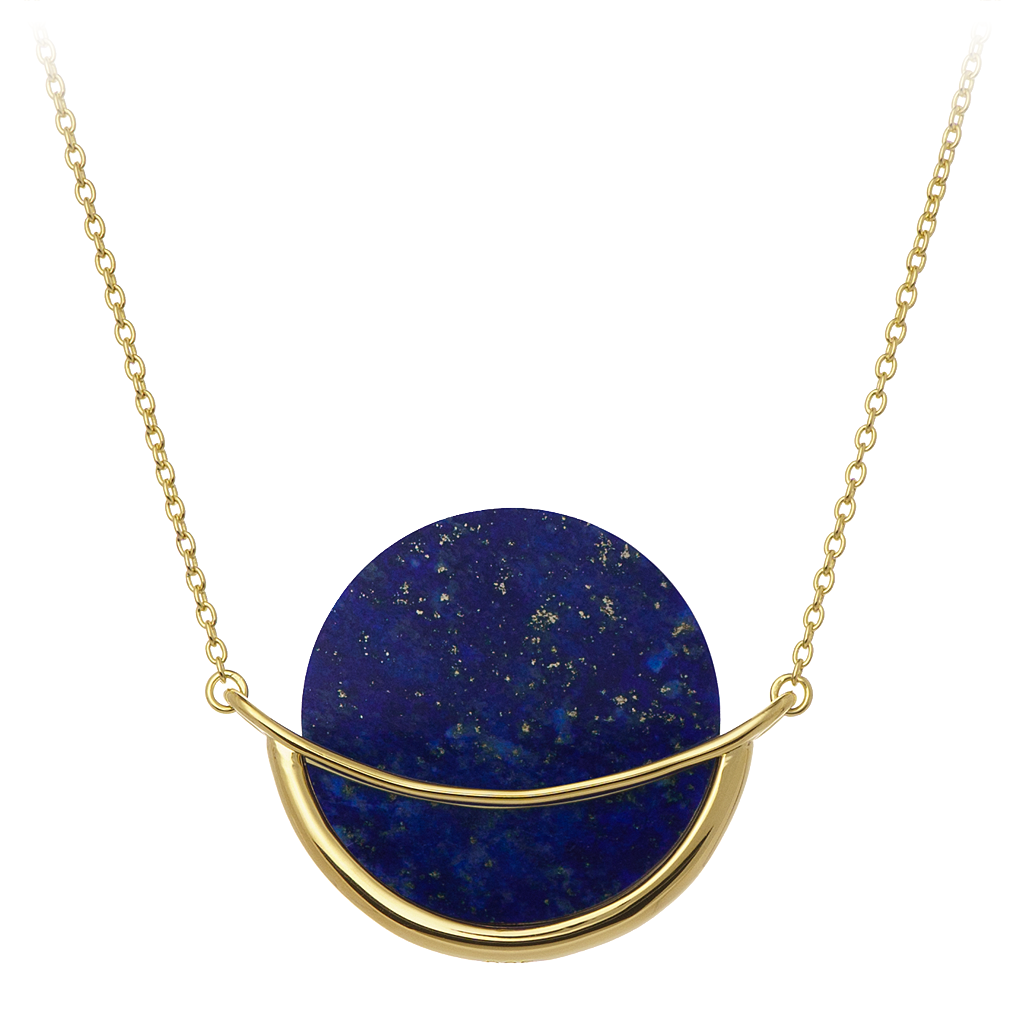 GEMS IN STYLE necklace - Dancing Orbit collection, LAPIS LAZULI gemstone, 925 Sterling Silver with 14K Gold plating. Modern Minimalist Gemstone Jewellery.
