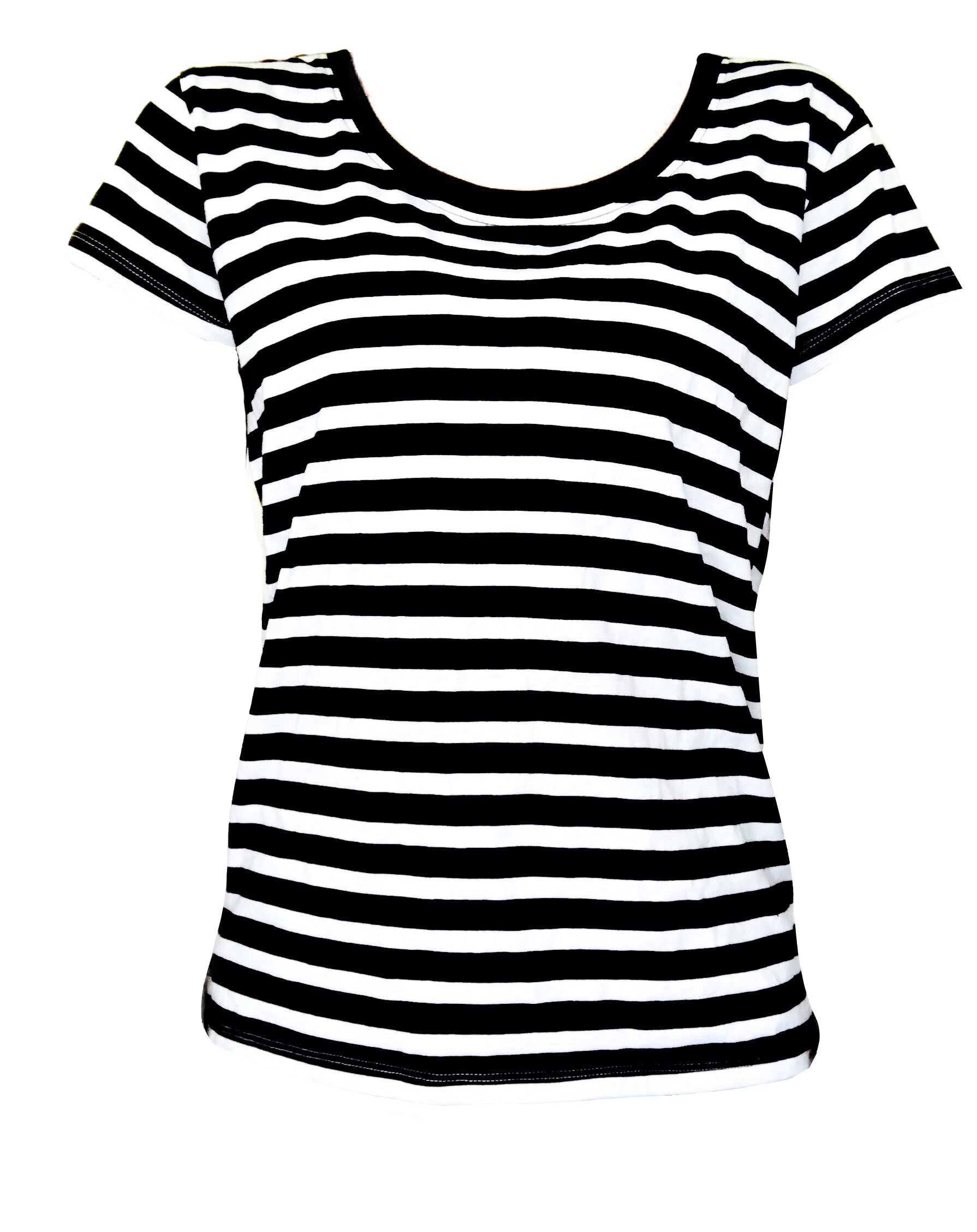 100% GOTS Certified Organic Tee with White-Navy Stripes