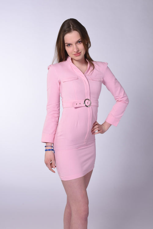 Organic Cotton Shirt Dress in Orchid Pink