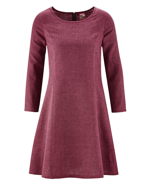 Classy Organic Blend Checkered A-Line Dress in Carmine Red