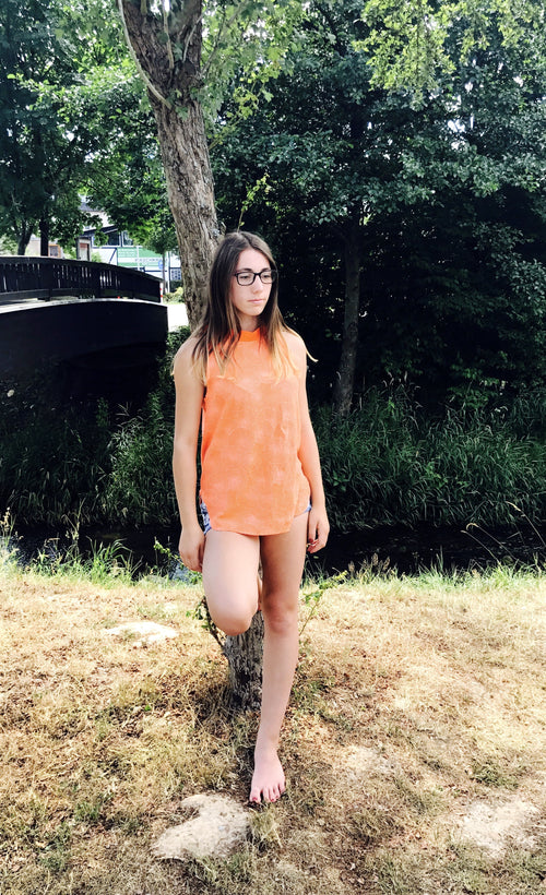 Ärmelose Stehkragen Bluse in Orange
