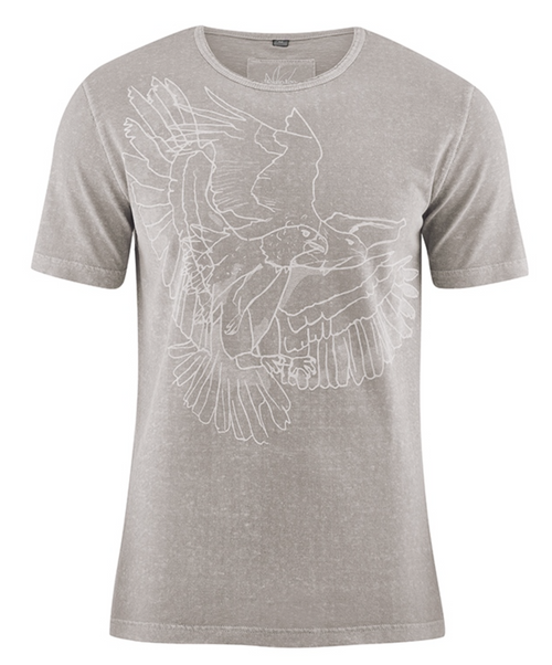 Organic cotton & Hemp blend Tee for Him in Mud-Grey