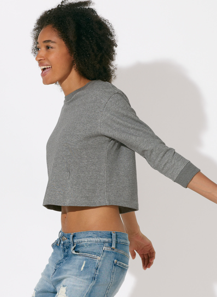 100% Bio-Baumwolle Cropped-Sweatshirt in Grau