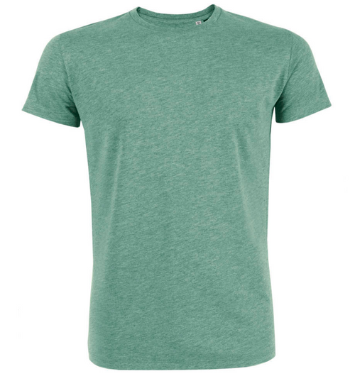 Men's 100% Organic Cotton Tee in Mid-Heather Green