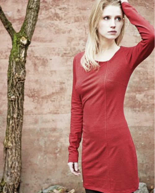 Organic Dress in Rosehip Red