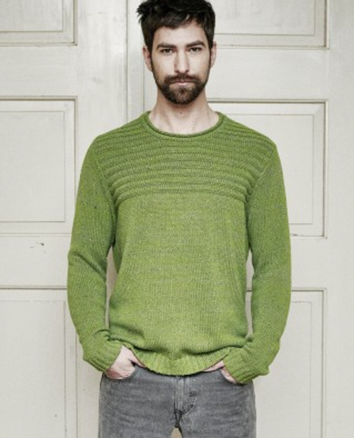 Mens Organic Pullover in Moss Green
