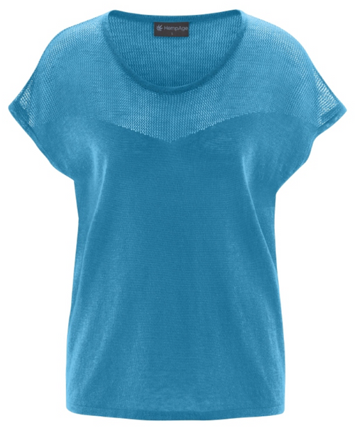 Bio-Strick-Top in Atlantic Blue