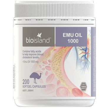 Bio Island Emu Oil 1000mg 200 Softgel Capsules