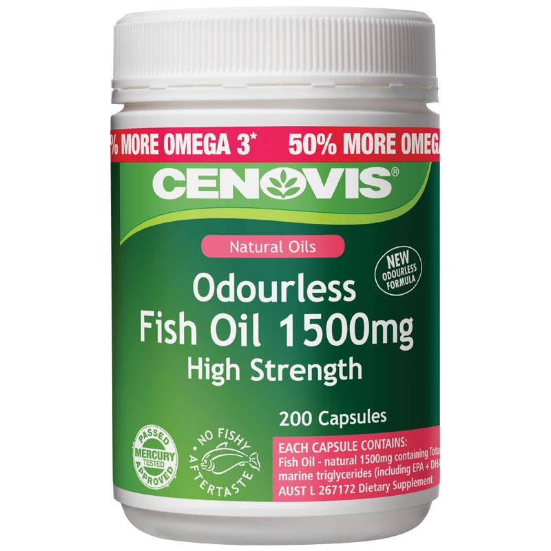 Cenovis Odourless 1500mg Fish Oil 200 Soft Capsules